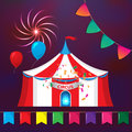 Big Top Circus Tents with decorative elements. Flags, fireworks and garlands. Royalty Free Stock Photo