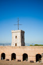 Big tower of Castle of Montjuic, Barcelona Royalty Free Stock Photo