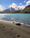 The big traces sandy beach lake pehoe in national park torres del paine chile majestic rocks los kuernos beach is trampled by Stock Photography