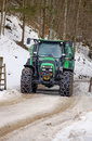 Big Tractor with Snow Chains Royalty Free Stock Photography