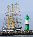 Big traditional sailing ship port warnemünde germany august old russian kruzenstern arrived at port on august in the scope of the Royalty Free Stock Photos
