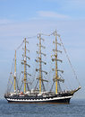 Big traditional sailing ship port warnemünde germany august old russian kruzenstern arrived at port on august in the scope of the Stock Photo
