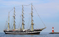 Big traditional sailing ship port warnemünde germany august old russian kruzenstern arrived at port on august in the scope of the Stock Images