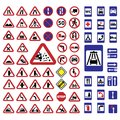 Big traffic signs set elegant created for mobile web and applications Stock Photos