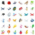 Big travel icons set, isometric style Royalty Free Stock Photo