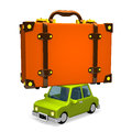 Big travel luggage on car d render illustration isolated white Royalty Free Stock Images