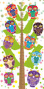 Big tree with green branches and fun colored owls on white background Children height meter wall sticker, kids measure. Vector
