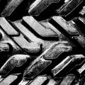 Big truck mud tires, close up. Bw. Royalty Free Stock Photo