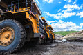 Big truck in open pit and blue sky at mae moh mine Stock Images