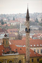 Big turkish minaret eger hungary m high Royalty Free Stock Photo
