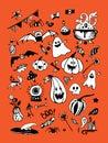 Big vector collection of Halloween elements, including pumpkins, mushrooms, sweets, skulls, bats, poison, ghosts.