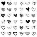 Big vector doodle heart set