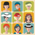 Big vector set of different women app icons in glasses and hats in flat style.