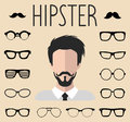 Big vector set of dress up constructor with different men hipster glasses, mustache. Male faces icon creator.