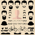 Big vector set of dress up constructor with different men hipster haircuts, glasses, beard etc. Male faces icon creator. Royalty Free Stock Photo