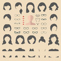 Big vector set of flat dress up constructor with different woman haircuts, glasses, lips etc. Female faces icon creator. Royalty Free Stock Photo