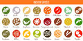 Big vector set of popular culinary spices silhouettes. Ginger, chili pepper, garlic, nutmeg, anise etc.