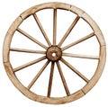 Big vintage rustic telega wheel isolated on white background Stock Photography