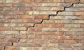 Big wall crack between bricks it shows damaged Royalty Free Stock Photo