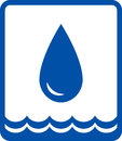 Big water drop and wave icon with blue glossy Royalty Free Stock Photography