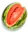 The big water melon close up on a white background striped ripe Stock Photos