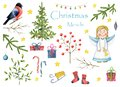 Big watercolor set `Christmas Miracle`. Christmas angel, cute bullfinch, tree, mistletoe, sprig of viburnum, gifts, stars, stockin