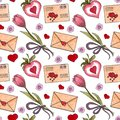 Big watercolor set of elements for Valentine`s day