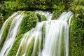 Big waterfall view in the national park of plitvice in croatia europ Royalty Free Stock Image