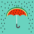 Big watermelon slice cut with seed. Umbrella and rain. Flat design icon Summer autumn fall time. . Blue sky background Royalty Free Stock Photo