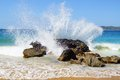 Big wave crashes on to the shore. Stock Photography