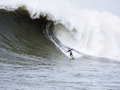 Big Wave Surfer Anthony Tashnick Surfing Mavericks California Royalty Free Stock Photo