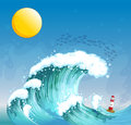 A big wave with a tower illustration of Royalty Free Stock Photography