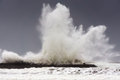 Big waves breaking on Plentzia breakwater Royalty Free Stock Photo