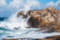 Big waves in Brittany Stock Images