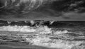 Big waves ocean monochrome photo Royalty Free Stock Photo