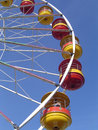 Big wheel detail side view looking up of the pods on a at a uk funfair Royalty Free Stock Photo