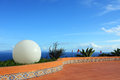 Big white ball and blue sky and sea scenery background Royalty Free Stock Photography