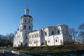 Big white christian ortodox church in ukraine during winter season Stock Image