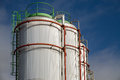 Big White gaz and fuel Storage Tanks Royalty Free Stock Photo