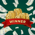 Big Win Billboard For Casino. Winner Sign. Jackpot Prize Design. Coins background. Royalty Free Stock Photo