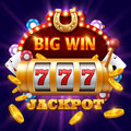 Big win 777 lottery vector casino concept with slot machine Royalty Free Stock Photo