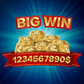 Big Win Vector. Background For Online Casino, Gambling Club, Poker, Billboard. Gold Coins Jackpot Illustration. Royalty Free Stock Photo