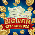 Big Win Vector. Big Winner Poster. You Win. Falling Explosion Golden Coins. Dollars Money Banknotes Stacks Royalty Free Stock Photo