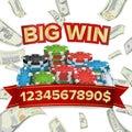 Big Winner Poster Vector. You Win. Explosion Money. Gambling Poker Chips. Royalty Free Stock Photo