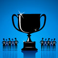 Big winning trophy with team member concept vector Stock Photography