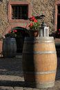 Big wooden wine barrel Stock Photo