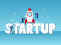 Big word Startup concept. Businessman startup with rocket, icons and element.