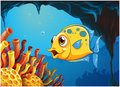 A big yellow fish under the sea inside the sea cave illustration of on white background Royalty Free Stock Image