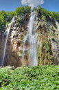 The bigest waterfall veliki slap at pltvice lakes in croatia Stock Images