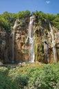 The bigest waterfall veliki slap at pltvice lakes in croatia Stock Photos